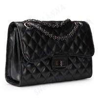 3PCS FREE SHIPPING New arrival women girl plaid chain PU leather handbag shoulder messenger bag #MHB010
