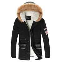 Hot sale men jackets fur hooded slim fit men winter coat overcoat outwear Asian size M L XL XXL