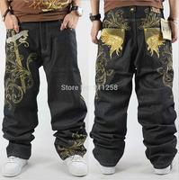 Plus Size CROWN Brand Mens Denim Jean Fashion Hip Hop Gold Embroidery Rivet Black Loose Large 30-46 HipHop Pants For Man