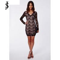 2015 New European women long sleeve body mini v-neck render of slim sexy lace Dress WD0552