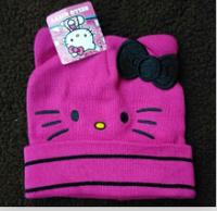 Lovely Bowknot Hello Kitty 1~4 Years Children Girl Knitting Beanies Hats