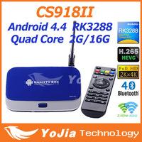 CS918II Android TV Box RK3288 Quad Core IPTV Smart TV XBMC 1.8GHz 2G/16G HDMI H.265 2.4G/5GHz Dual WiFi OTG Optical Media Player