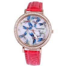 2014 Hot sale fashion watch beautiful blue dragonfly diamond jewelry snake crystal leather strap women quartz