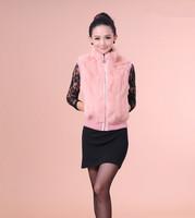 Free shipping 2015 new winter women's slim short sleeveless zipper plus size really Rabbit fur vest coat outerwear (S-2XL)