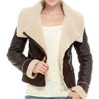 Hot-Selling 2014 Best NEW Women's Winter Fashion ONE FUR Coat Turn-Down Collar Female Sheepskin Wool-One Outerwear