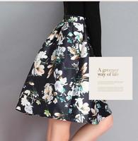 Autumn Winter Fashion Womens Vintage Retro Hepburn Floral Print High Waist A-Line Knee-Length Midi Skirts Ball Gown