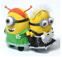 2pcs/lot New 25CM Despicable ME 2 Movie Plush Toy Minions Maid outfits + green apron