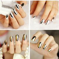 Fashion Lady's False Nail gold color Fake Nails Tips 2 pcs Golden color