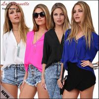 Blusas Femininas 2014 Cheap Clothes China Woman Shirt Summer Blusas Plus Size Chiffon Blouse Candy Color