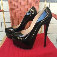 Free shipping brand designer black patent leather 16cm 160mm thin heel with 5cm platform woman lady fashion pump shoes plus szie