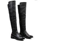 Winter lattice stitching Martin leather shoes woman flat heels knee high boots plaid rivet brand designer boots botas femininas