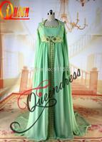 Custom Made Beautiful Scoop Neckline Long Sleeve Pleats Bufferfly 2014 Dubai Latest Abaya Designs