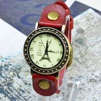 2014 New European Style Effiel Tower Watch Leather Retro Roman Numerals Man / Woman Quartz Watch Free Shipping XMAS Gifts