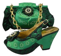 Design No.GF08-green!hot sale Italian shoes and matching bags for party!good quality ladies shoes and bags with rhinestones!