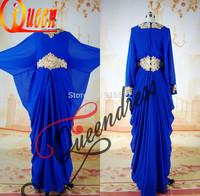 Real Scoop Neckline Royal Blue Long Sleeves Winter Golden Beading Custom Made Dubai Latest Abaya Designs
