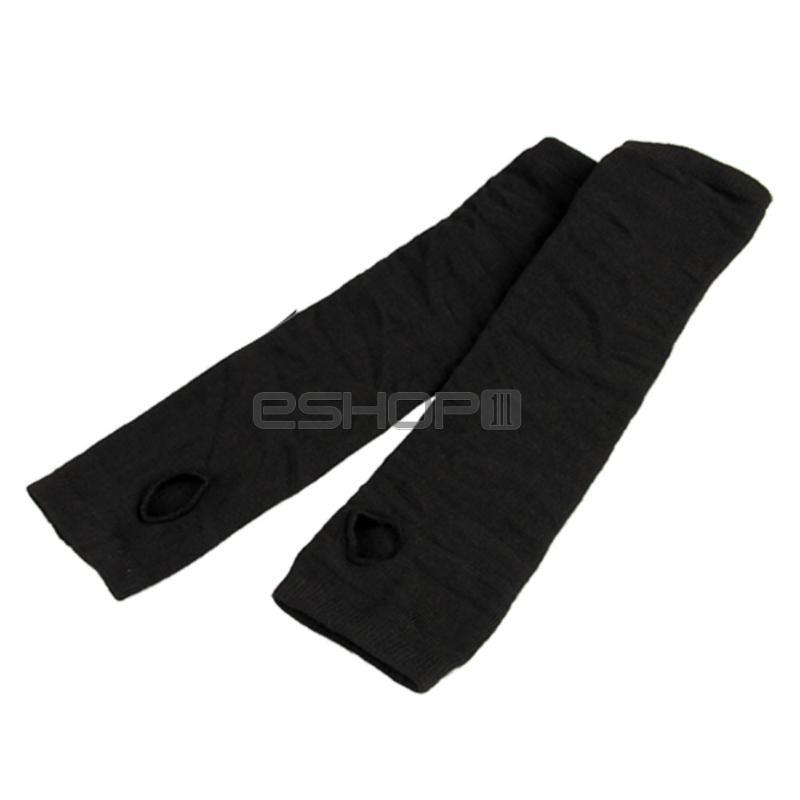 Pair Cotton Black Long Fingerless Arm Sleeves Gloves(China (Mainland))