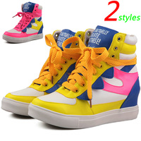 Colorful Fashion Wedges Sneakers,Color Stitching PU 2 Styles,Height Increasing 5cm,Size 35~39,Women's Shoes