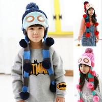 2015 New Pilots cap long double braids boys girls knitting Hats Winter Fur Hat with villi inner Kids Earflap Cap 2-7 Years Old