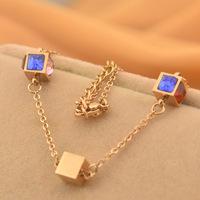 New hot color squares rose gold necklace Clover female Korean short chain 14k Rose Gold