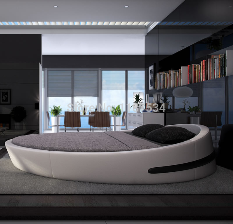 Bedroom furniture king size large round soft bed leather plush Flash grand soft leather bed Y03(China (Mainland))