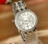 Free Shipping 2014 New Gu Super Quality Cheap Price Fashion Women Lady Luxury Brand Design Women Dress Full Steel Watches Quartz