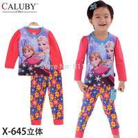 2014 new girls long sleeve frozen pajamas / children spring autumn clothing set / kids sleepwear