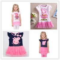 Top Quality Hot Sale Peppa Pig Dresses short sleeve cotton clothing kids dress peppa dress for girls white pink dark blue