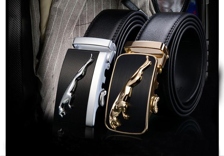 Explosion models new arrival Jaguar wholesale auto buckles genuine leather men belts hot sale men brand leather belts(China (Mainland))