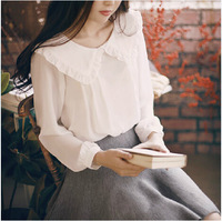 2014 autumn new sweet doll collar long-sleeved white shirt female literary large lapel chiffon shirt bottoming women clothing