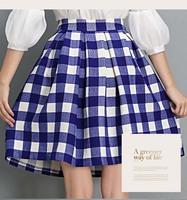 Autumn Winter Fashion Womens Vintage Retro Hepburn Plaids Checks High Waist A-Line  Midi Skirts Ball Gown