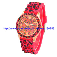 Fantastic ! New arrivels Quartz Analog Wrist Watch Fashion Unisex Leopard Silicone Jelly Gel Watches Freeshipping 500pcs/lot