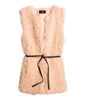 2014 Direct Selling Freeshipping Faux Fur High Waist Sleeveless Long O-neck Belt Natural Fur Coats Coat New Winter Vest Coat