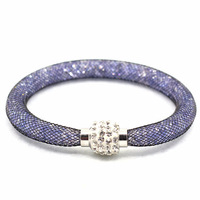 Wholesale Magnet Clasp Crystal Bracelets With Shamballa Ball Mix Colors Mesh Designs Crystal Bangles For Women