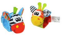 Baby rattles toy 2014 new High Contrast donkey animal stuffed Wrist Rattles or Foot Socks musical toy for baby gift 2pcs/lot