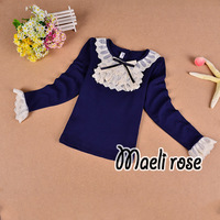 baby long sleeve  fashion lace t shirt for girl kids dark blue knitted tshirts spring fall children clothes wholesale 5pcs/lot