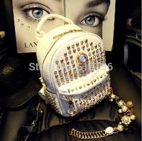 Personality Rivet Students Travel Backpacks Bag 2014 Newest Trend Women's Skulls Diamante Backpacks Shoulder Bag