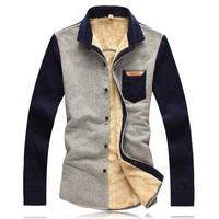 Free shipping famous brand plus size XXL 4xl 6xl Winter fashion velvet thickening men casual shirt casual-shirt shirt men's