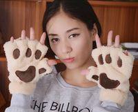 Girls small cat's paw thickening thermal gloves villus plush bear paw semi-finger mitring