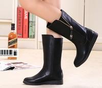 2014 autumn and winter boots genuine leather flat boots women's shoes medium-leg boots snow boots platform platform