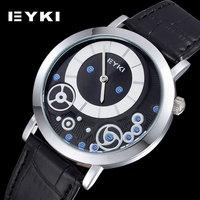 Japan Quartz Hardlex Alloy Analoy Round PU Leather Strap Sport Watch, Gear Decoration Thin Dial Man Wristwatches