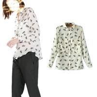 2014-2015 European new elephant animal print big collar shirt pocket spring snow spins unlined upper garment Free shipping G025