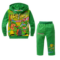 Hot-Selling Teenage Mutant Ninja Turtles Boys & Girls Clothing Sets Green Turtles Hoodies + Pants 2pcs Set DHL FREE SHIP