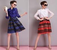 Autumn Winter Fashion Womens Vintage Retro Hepburn Double layer Organza High Waist A-Line Knee-Length Midi Skirts Ball Gown