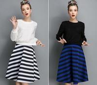 Autumn Winter Fashion Womens Vintage Retro Hepburn Striped High Waist A-Line  Midi Skirts Ball Gown