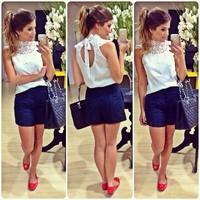 blusas femininas 2014  Women Blouse Openwork lace sleeveless white blouse roupas femininas shirt women