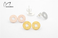 Valentine Day Gift Compass Stud Earrings in GOld, Silver or Rose Gold Plated Travelers jewelry