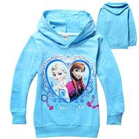 2014 New Free Shipping Frozen Girls T-shirt 3style Hoodies Desing 2-8yrs Kids Autumn Long Sleeve Tee Shirt 704