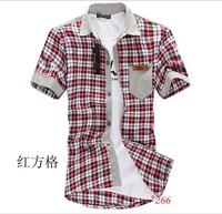 Hot sales seven color man shirt 2014 fashion grid stitching stick a skin pocket men's short sleeve shirt is free shipping