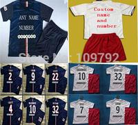 2014-15 IBRAHIMOVIC CAVANI kids children jersey soccer Uniforms DAVID LUIZ VERRATTI T.SILVA LUCAS MATUIDI LAVEZZI jersey+shorts