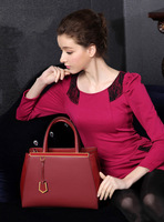 New female classical cross grain Cowhide handbag restoring ancient ways genuine leather Shoulder Bag